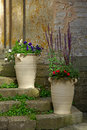 Urns with flowers Royalty Free Stock Image