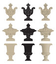 Urns set of classic stone Royalty Free Stock Photography
