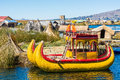 Uros floating Islands peruvian Andes Puno Peru Royalty Free Stock Photo