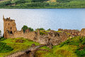 Urquhart castle the magnificently situated on the banks of loch ness remains an impressive stronghold despite its ruinous state Royalty Free Stock Photos