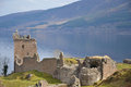 Urquhart castle overlooking loch ness in scotland Royalty Free Stock Photos
