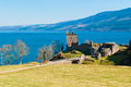 Urquhart castle remains of the on the shore of loch ness in northern scotland Royalty Free Stock Photos