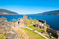 Urquhart castle remains of the on the shore of loch ness in northern scotland Stock Image