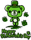 Urso bonito do dia de st patrick Fotos de Stock Royalty Free