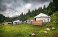 Urta nomadic house in the mountains of kyrgyzstan central asia Stock Image
