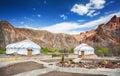 Urta nomadic houses in charyn grand canyon kazakhstan Royalty Free Stock Image