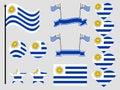 Uruguay flag set symbols, flag in heart. Vector Royalty Free Stock Photo