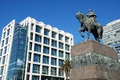 Uruguays government house and Artigas monument Royalty Free Stock Photo