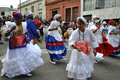 Uruguayan dancers performing for a candombe festival Royalty Free Stock Photo