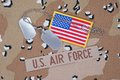 Us air force concept with dog tags on camo camouflage uniform Royalty Free Stock Photography