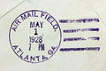 Us air mail postmark usa vintage cancellation from atlanta state of georgia on an old postal cover circa Stock Image