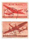 Us Air Mail Stamps Royalty Free Stock Photo