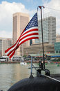 US American flag on USS Torsk Submarine Royalty Free Stock Photo