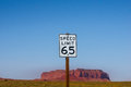 US american road sign - Speed Limit 65 MPH Royalty Free Stock Photo