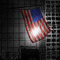 Us american symbol flag over black and white modern la city buildings Royalty Free Stock Photo