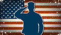 Us army soldier on grunge american flag background vector saluting Royalty Free Stock Photography
