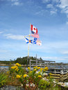Us and canadian flags plus the provinces of nova scotia newfoundland labrador flying on one flagpole Royalty Free Stock Photos