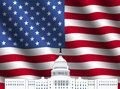 US Capitol building with American flag Stock Photo