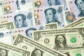 US and Chinese currencies Stock Photography