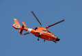 US Coast Guard helicopter departing on patrol Royalty Free Stock Photo