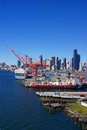 Us coast guard ship on seattle waterfront washington jun puget sound pacific northwest Stock Photography