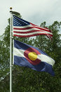Us and colorado flags colorful in georgetown Stock Image