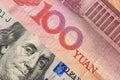 US dollar bill and China yuan banknote macro. Royalty Free Stock Photo