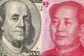 US dollar bill and China yuan banknote macro Royalty Free Stock Photo