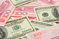 US dollar and China yuan closeup Stock Photo