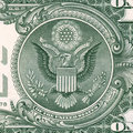 Us dollar detail great seal on one bill banknote macro shot Stock Photography