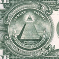 Us dollar detail pyramid on one bill banknote macro shot Royalty Free Stock Photography