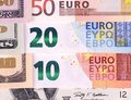 US dollar and euro bills abstract background. Royalty Free Stock Photo