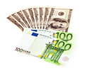 Us dollar and euro two leading hard currencies Stock Photography