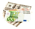 Us dollar and euro two leading hard currencies Stock Photo