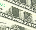 Us dollar in macro shot one Royalty Free Stock Photo
