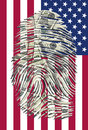 Us dollars finger and american flag impression Stock Images