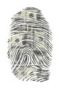 Us dollars finger print on white Royalty Free Stock Photos