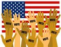 US Election Voters With Hands Raised Stock Images