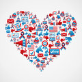 US elections icons heart shape Royalty Free Stock Images