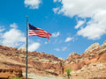 US Flag at Capitol Reef Royalty Free Stock Photo