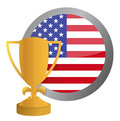 Us flag and gold trophy illustration design Royalty Free Stock Images
