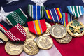 Stock Photos US Flag Military Medals