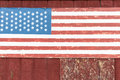 Us flag painted on old wooden wall grunge stars and stripes Stock Images