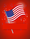 Us flag patriotic background illustration design over red Royalty Free Stock Image