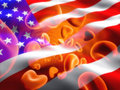US flag and red blood cells Stock Photo
