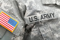 US flag and U. S. ARMY patch on military uniform - studio shot Royalty Free Stock Photo