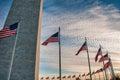 US Flags Surrounding the Washington Monument at Sundown