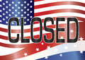 Us government shutdown closed sign illustration with stars and stripes and flag background Stock Photography