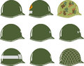 Us m army helmets of ww including viet nam nd rangers airborne military police mp one two and three star generals and captain Stock Photos