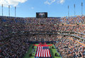 Us marine corps unfurling american flag during th new york september the opening ceremony of the open women final at billie jean Stock Images